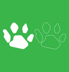 Animal footprint icon white color vector
