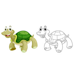 Animal outline for cute turtle vector