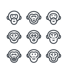 Apes monkey chimp linear icons over white vector