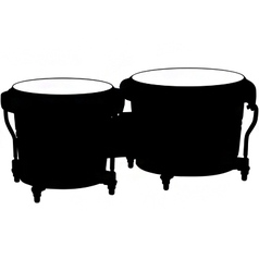 bongo drums silhouette vector image