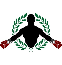 boxer and laurel wreath vector image vector image