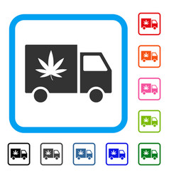 Cannabis delivery van framed icon vector
