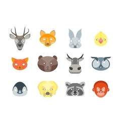 Cartoon animals party mask set for costume vector