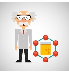 Character man scientist filled test tube vector