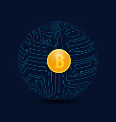 circle from the motherboard and bitcoin coins on vector image vector image
