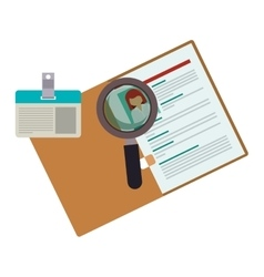 Curriculum vitae with id card and magnifying glass vector