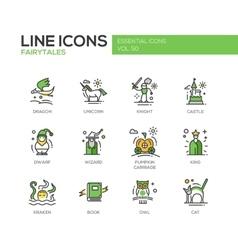 Fairy tales- flat design line icons set vector