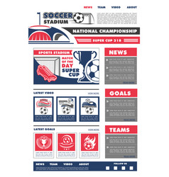 Football soccer game landing page design vector
