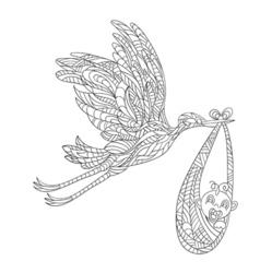 hand drawn zentagle of stork carrying a newborn vector image