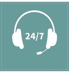 Headphones with microphone non stop 24 7 customer vector