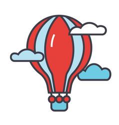 Hot air balloon concept line icon vector