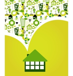 House with green eco pattern vector