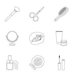 Make up set icons in outline style big collection vector