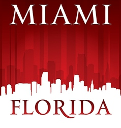 Miami Florida city skyline silhouette vector image