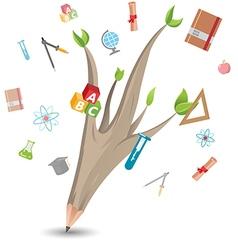 Pencil leaf tree education school vector