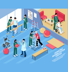 Rehabilitation center nurses isometric poster vector