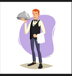 restaurant waiter classic waiter takes the vector image vector image