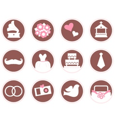 Retro wedding design elements and icons vector image vector image