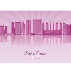 Sao Paulo V2 skyline in purple vector image