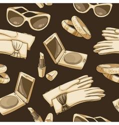 Seamless women fashion accessories wallpaper vector image