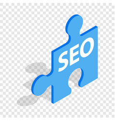 Seo blue puzzle isometric icon vector