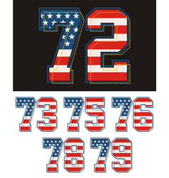 Set america flag number vector