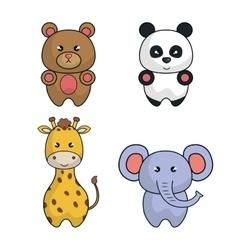 set animals cartoon cute design vector image