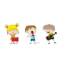 three kids making music vector image