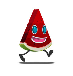 watermelon slice cartoon character isolate vector image vector image