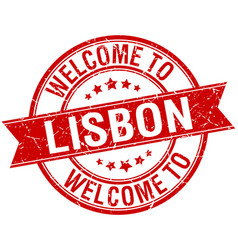 Welcome to lisbon red round ribbon stamp vector