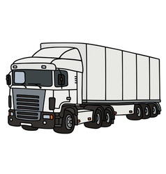 White truck with a semitrailer vector image vector image