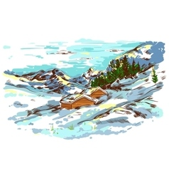 Winter Sketch Farm Landscape vector image