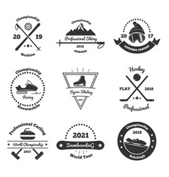 Winter sports monochrome emblems vector