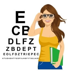 woman with glasses reading sight test characters vector image