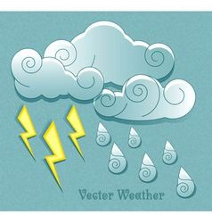 Cloud droplets and lightning vector