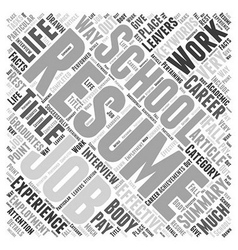 An effective resume word cloud concept vector