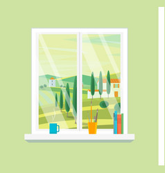 Cartoon windows farm landscape view vector