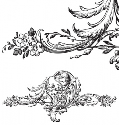 Antique floral scroll ornament engraving vector