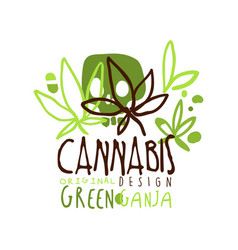 Cannabis green ganja label original design logo vector