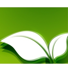 Green leaves abstract wave eco design vector