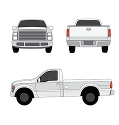 Pick-up truck three sides view vector