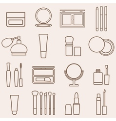 Set of silhouette beauty and cosmetics icons vector