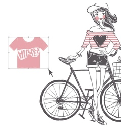 Hipster teenage girl on her vintage bike vector
