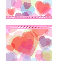 Multicolor transparent hearts love card vector
