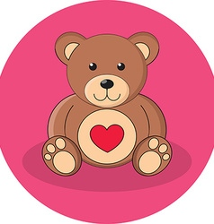 Cute brown teddy bear with red heart flat design vector