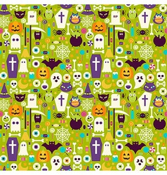 Flat halloween holiday elements seamless pattern vector