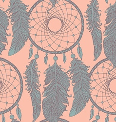 Seamless pattern with hand drawn dream catchers in vector