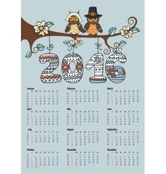 Calendar 2016owl couple and knitting numbers vector