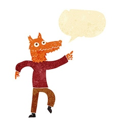 Cartoon fox man with speech bubble vector