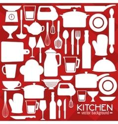 Kitchen utensils and dishware vector
